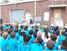 Mary Delapasse teaching students about recycling, litter and beautification